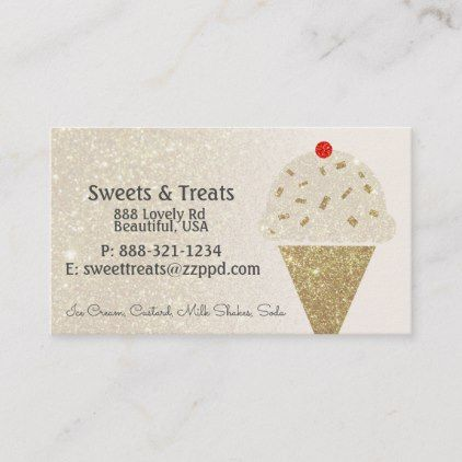 Ice Cream Cone On Ivory Glitter Gradient Business Card Zazzle Com Rainbow Business Card Ice Cream Cone Printing Business Cards