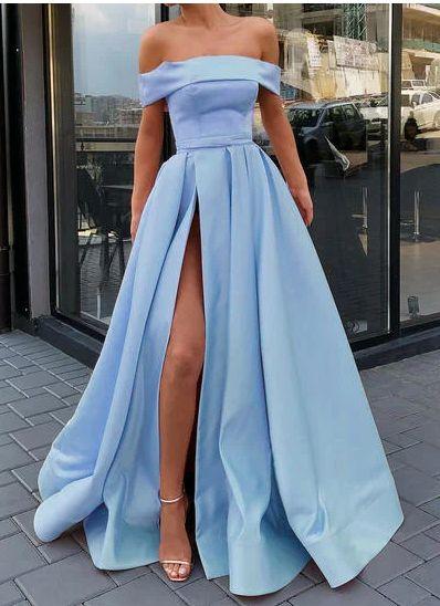 Sweep Train A-Line/Princess Gorgeous Off-the-Shoulder Satin Prom Dresses,328