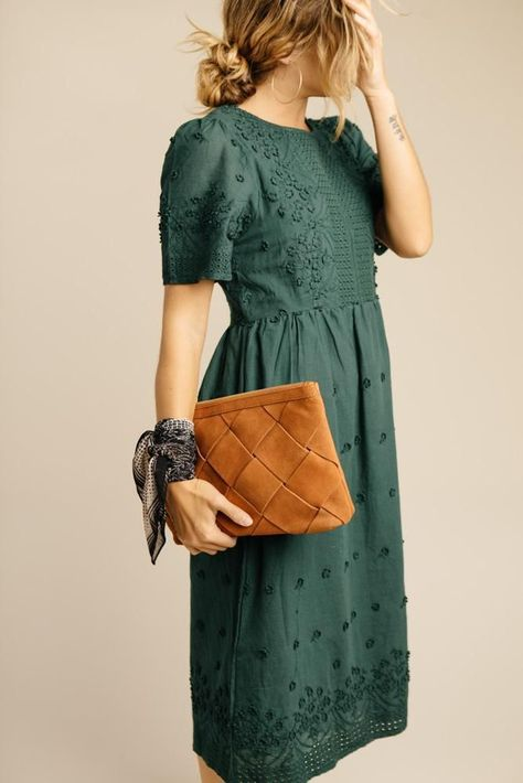 Madde Embroidered Dress in Emerald