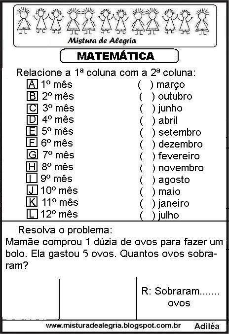 Matematica Ensino Fundamental I Diversas Atividades Para Imprimir