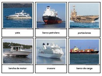 Montessori en Español Land Water Air Transportation 3 Part Cards |  Transportation, Aircraft carrier, Water