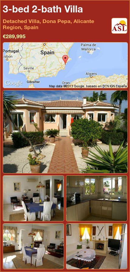 3-bed 2-bath Villa in Detached Villa, Dona Pepa, Alicante Region, Spain ►€289,995 #PropertyForSaleInSpain