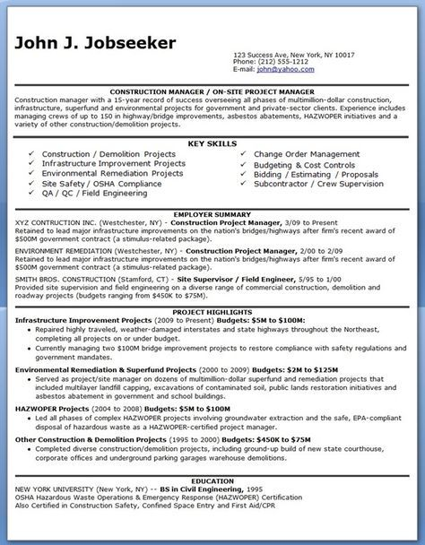 Construction Manager Resume Pdf With Images Project Manager Resume Manager Resume Resume Pdf