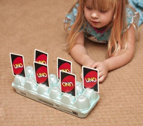 Fun Things To Do With Your Kids.Cut slits into the bottom of an egg carton for an easy card holder for kids with little hands. Perfect for game nights! Playing Card Holder, Playing Cards, Activities For Kids, Crafts For Kids, Baby Kind, Babysitting, Little People, Games For Kids, Kids Playing