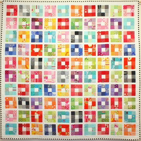 Colour Squared quilt at ballaratpatchwork.com.au  Nine-patch rainbow with white centers and sashing...LOVE IT!