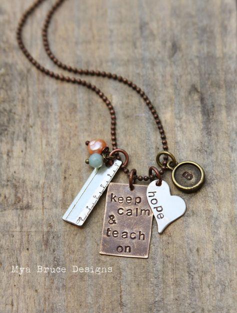 Keep calm and teach on  new Teacher necklace  by MyaBruceDesigns, $35.00