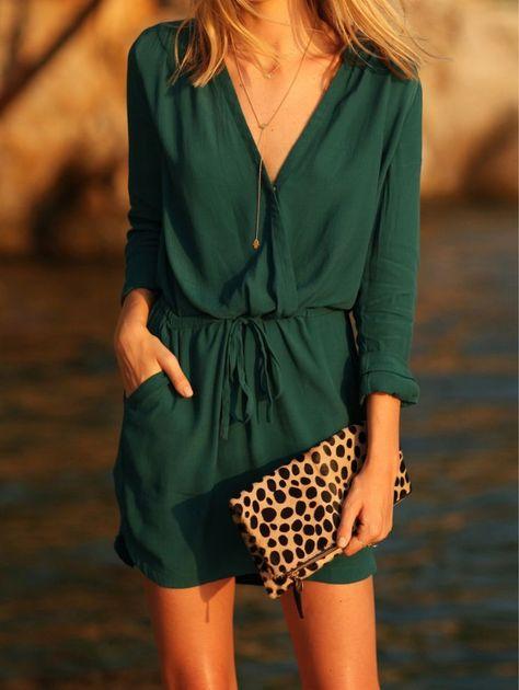 Green V Neck Drawstring Pockets Rockabilly Peasant Blouson Dress