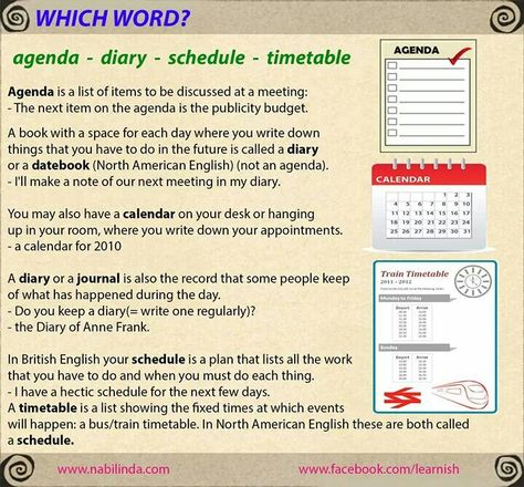 Which word? Agenda, diary, schedule, timetable? Vocabulary - agenda word
