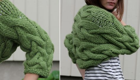 Sideways braid bolero - free knitting pattern - Pickles // thinking of doing it in white...