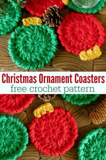 Christmas Ornament Coasters – Free Crochet Pattern These Christmas coasters are super fast and remarkably easy. Learn a few different techniques that will really take your crochet to a whole new level! Crochet Simple, Free Crochet, Crochet Gifts, Quick Crochet, Crochet Coaster Pattern Free, Crochet Cup Cozy, Double Crochet, Free Pattern, Crochet Christmas Decorations