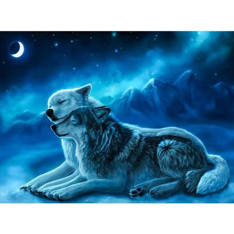 5D DIY Full Drill Diamond Painting 2 Wolves Cross Stitch Embroidery Cr – Everydayedeals