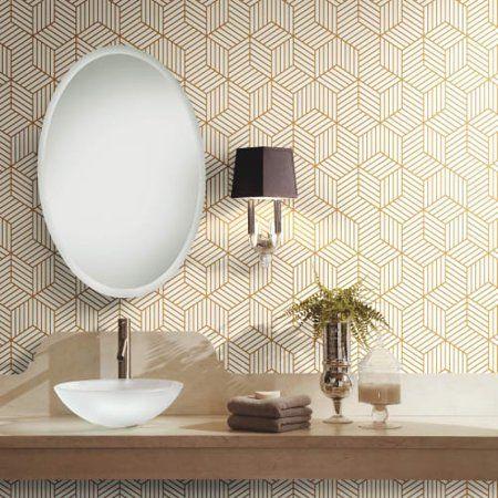 Roommates Stripped Hexagon White Gold Peel Stick Wallpaper Walmart Com Mid Century Modern Wallpaper Decor Interior Design Modern Interior Design