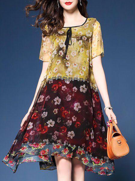 c31143e5be Multicolor Midi Dress Asymmetrical Daytime Short Sleeve Bow Dress ...