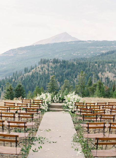 Martha Stewart Weddings has gathered their favorite Mountaintop Wedding Ideas. Click to see the most beautiful wedding venues and see where to find the most beautiful adventurous destination wedding venue. #Wedding #WeddingVenue #Mountains #MountainVenue #WeddingInspiration #WeddingPhotography | Martha Stewart Weddings
