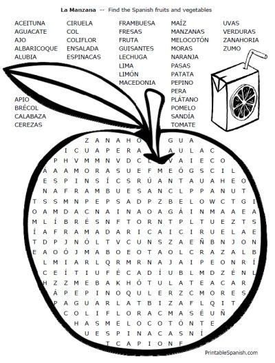 FREE word search & crossword puzzles for Spanish food vocabulary ...