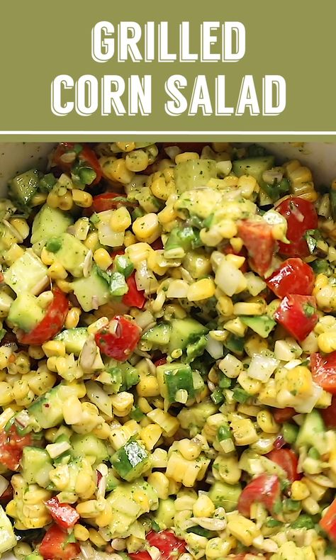 Grilled Corn Salad recipe- this is the perfect side for any party or summer dinner! It's loaded with fresh corn, cucumber, tomatoes and all of the flavors of summer. #salad #corn #healthy