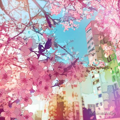 The Pink Spring In Tokyo A Beautiful Design With Fantastic Pink Sakura Flowers And Tokyo Center Buildings Sh In 2021 Anime Cherry Blossom Aesthetic Japan Anime Flower