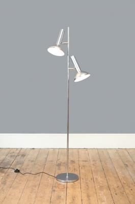 Mid Century Danish Double Headed Chrome Floor Lamp 2 Chrome Floor Lamps Lamp Mid Century Floor Lamps