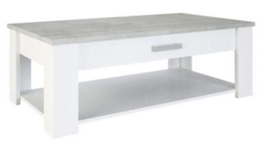 Table Basse Kim Beton Et Blanc But En 2020 Table Basse Acheter Table Basse Rangement Tiroir