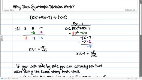 why does synthetic division work pre calculus pinterest ...
