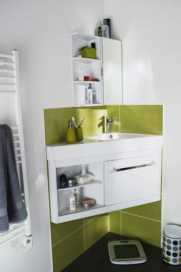 Plan vasque meuble du0027angle petite salle de bain Castorama Tiny - petit meuble salle de bain pas cher