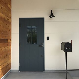玄関 入り口 アメリカンポスト メールボックス ヴィンテージ ブルー