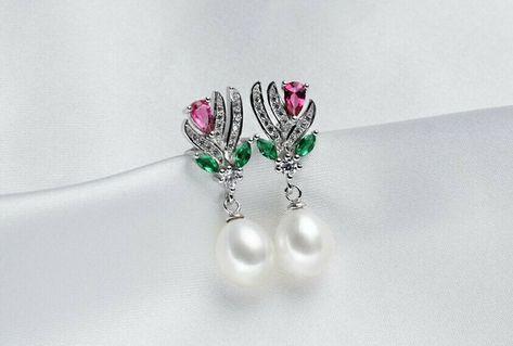 925 Sterling Silber Damen Clip Ohrringe Süsswasser Perlen AAAA 10 mm Rhodiniert