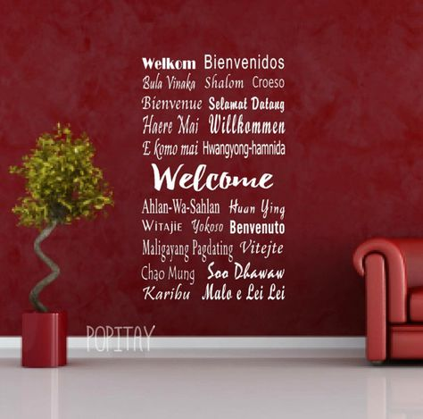 """Say """"Welcome """" in 22 languages. This vinyl wall sticker is great for the home or for a language school to welcome friends or visitors from other countries. The """"Welcome """" Languages shown in this kit are: Welkom – Afrikaan /Dutch Bienvenidos – Spanish Bula Vinaka – Fiji Shalom – Hebrew Bienvenue – French Selamat Datang – Malay/ Indonesian Haere Mai – Maori (New Zealand) Croeso - Welsh E Komo Mai -Hawaii Willkommen – German Welcome – English Malo e Leilei - Tongan Huan Ying – Chines..."""