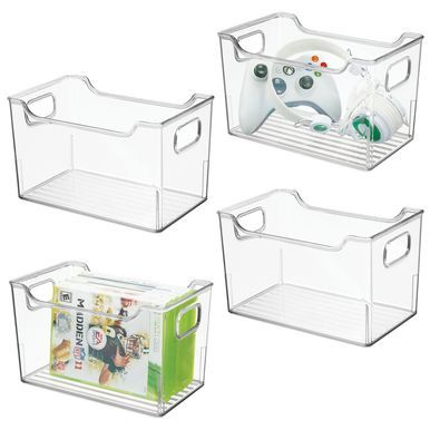 Plastic Home Storage Bin For Video Game Storage 10 X 6 X 6 Storage Bins Cube Furniture Plastic Box Storage