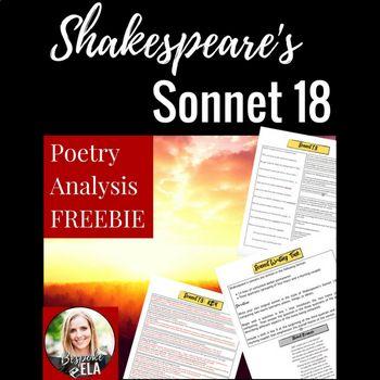 Shakespeare S Sonnet 18 Poetry Close Reading Analysi Freebie Analysis Paraphrase