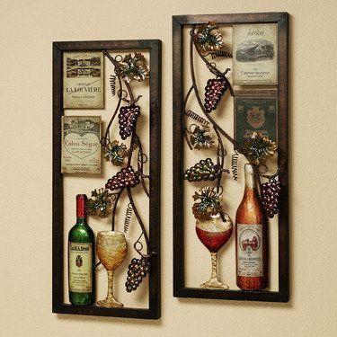Valley Vineyard Metal Wall Art Set Wine Decor Kitchen Wine Theme Kitchen Grape Kitchen Decor