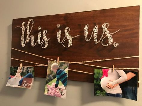 Custom This is us string art, picture hanger, wall decor, nail art, wood signs, picture holder