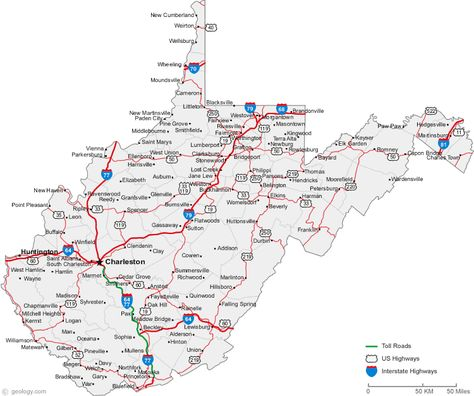 WV Cities - Interstates - Routes | Virginia map, Map of west ...