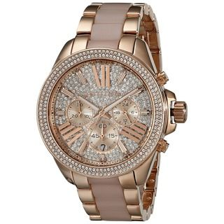 Michael Kors Women's 'Wren' Chronograph Crystal Rose Gold Tone Stainless Steel Watch - Overstock™ Shopping - Big Discounts on Michael Kors Michael Kors Women's Watches
