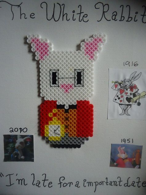 The White Rabbit Alice in Wonderland perler beads by PerlerHime