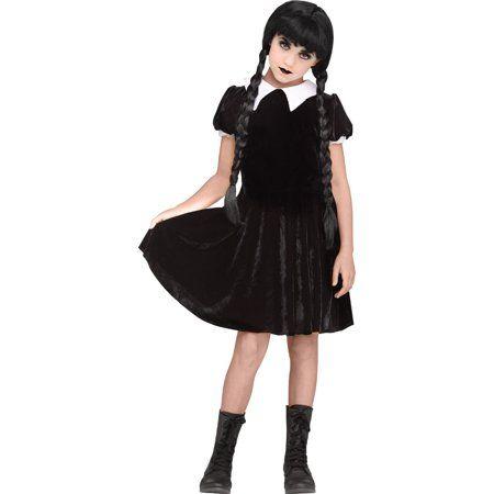 Halloween Costumes For Kidsgirl Walmart.Girls Gothic Girl Wednesday Addams Costume Walmart Com