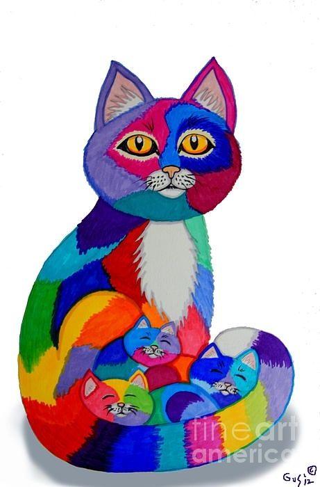 Cat And Kittens 2 Gatinho Desenho Arte Com Gatos E Gatos Coloridos
