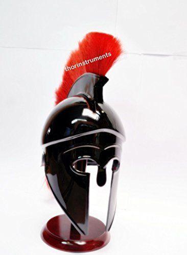 Greek Corinthian Helmet Red Plume Armour Medieval Knight Spartan