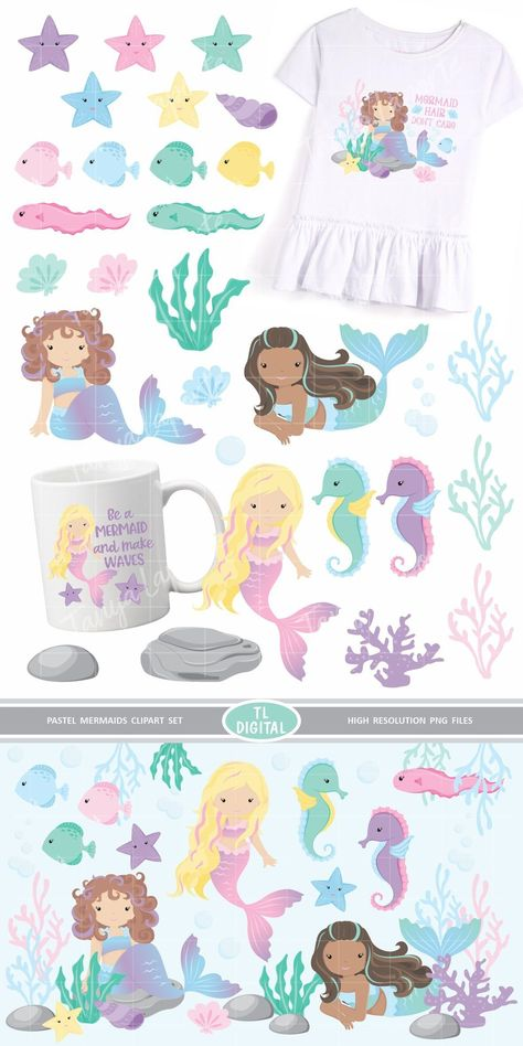 Pastel Mermaid Clipart Set 29 High Resolution PNG Graphics (367610) | Illustrations | Design Bundles
