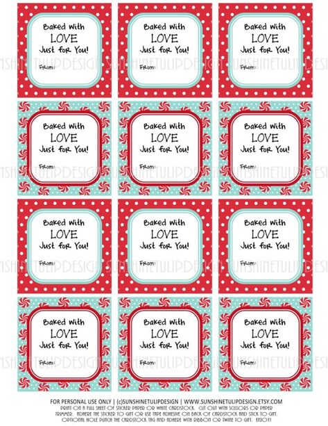 Baked Goods Labels Christmas Valentines Birthday Printable DIY by SunshineTulipdesign