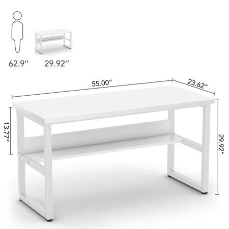 Tribesigns Computer Desk With Bookshelf 55 Simple Modern Style Writing Desk With Metal Legs Works As Office Desk Study Table Workstation For Home Office In Wh In 2020 Study Table Study