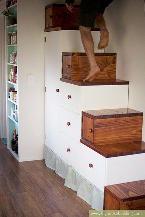 I love the tiny house storage stairs