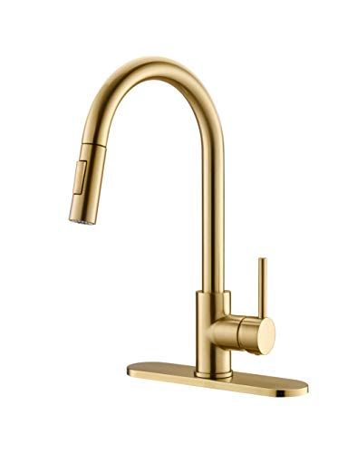 Havin Hv601 Brass Material Kitchen Sink Faucet With Pull Down Sprayer Brushed Gold Color Kitchen Faucet Brass Kitchen Faucet Sink Faucets Kitchen Sink Faucets