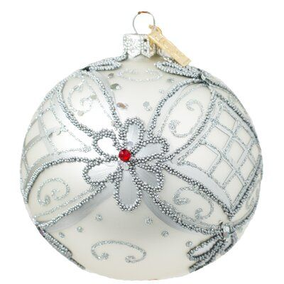 The Holiday Aisle Royal Flower Ball Ornament Glass In Silver Size 4 H X 4 W X 4 D Wayfair In 2021 Ball Ornaments Flower Ball The Holiday Aisle