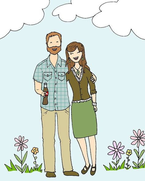 Guest Book Custom Cartoon Portrait Family Portrait Illustration