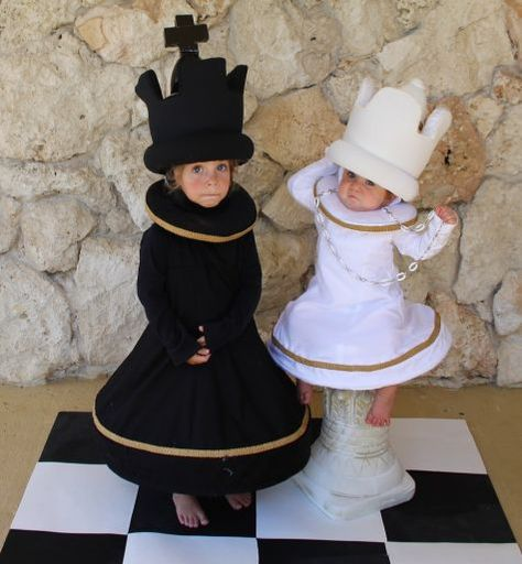 Chess King and Queen For Halloween this year I made the kids chess costumes. The body of the costume is an A line dress with boning in the hem. I added an extension past the hem to give the costume the appearance of a… Queen Halloween Costumes, Purim Costumes, Homemade Costumes, Carnival Costumes, Cool Costumes, Vampire Costumes, Children Costumes, Costume Ideas, King And Queen Costume