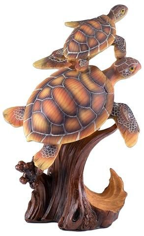 Sea Turtle Faux Carved Wood Look Figurine Resin 4.25 Inch High New!