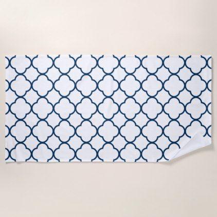 Quatrefoil Clover Pattern Navy Blue Beach Towel Zazzle Com
