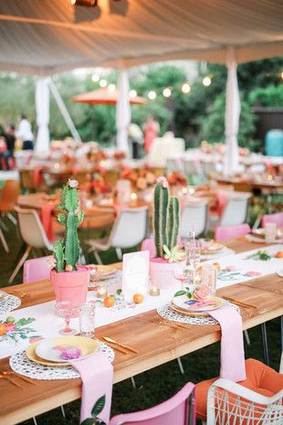 The 10 Best Wedding Table Settings of 2015: Modern + retro wedding reception - playful pink, yellow, gold + green wedding decor + cacti