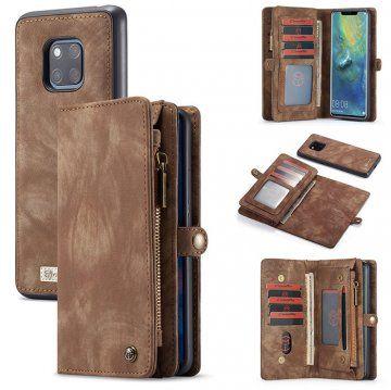Caseme Huawei Mate 20 Pro Zipper Wallet Magnetic 2 In 1 Case Coffee Handyhulle Holz Handy Wal
